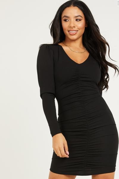 Black Ruched Bodycon Midi Dress